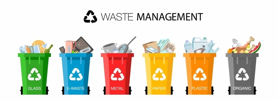 Different types of rubbish sorted into wheelie bins